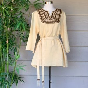 Victor Costa Occasion Yellow Linen Tunic w/ Beads